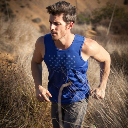 Runyon Canyon Apparel Mens Blue Striped Star Tank Made In USA