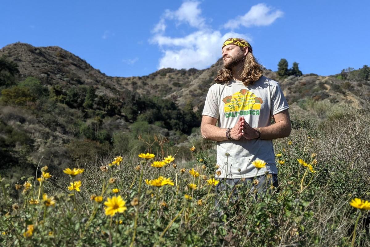 California Poppy Shirt  Eschscholzia Californica Hiking Fitness Performance Sportswear Runyon Canyon Apparel