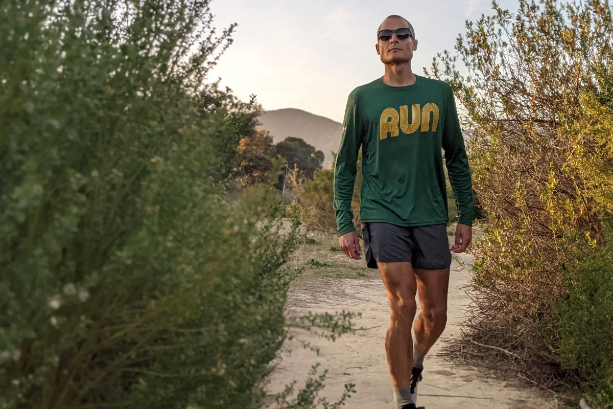 American Made In USA Mens Running Clothing RUN Forest Green Long Sleeve Training Shirt Performance Sportswear Runyon Canyon Apparel