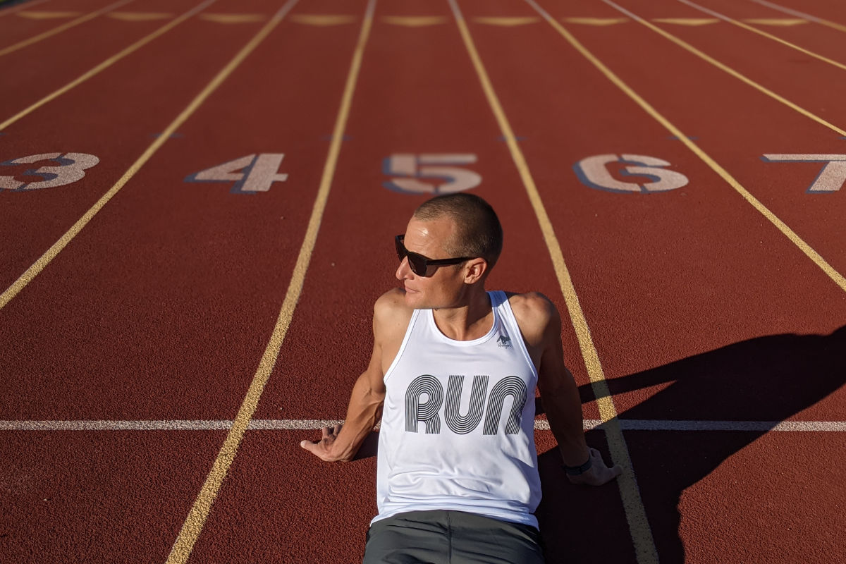 American Made IN USA Mens Running Clothing White RUN Tank Top Singlet Performance Sportswear Runyon Canyon Apparel