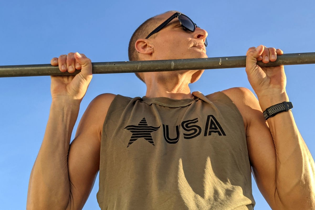 American Made In USA Mens Running Clothing USA Olive Green Muscle Tank Top Performance Sportswear Runyon Canyon Apparel
