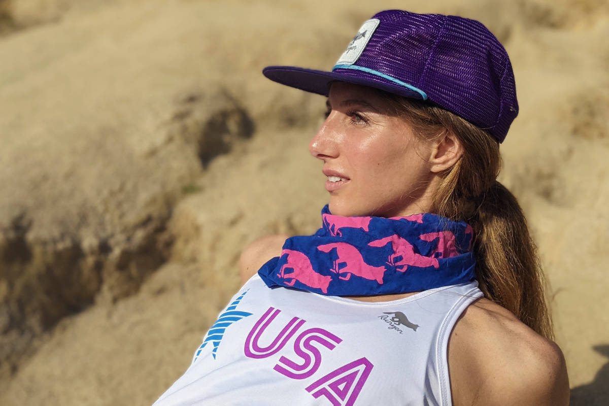 American Made In USA Running Clothing Purple Turquoise Trucker Hat