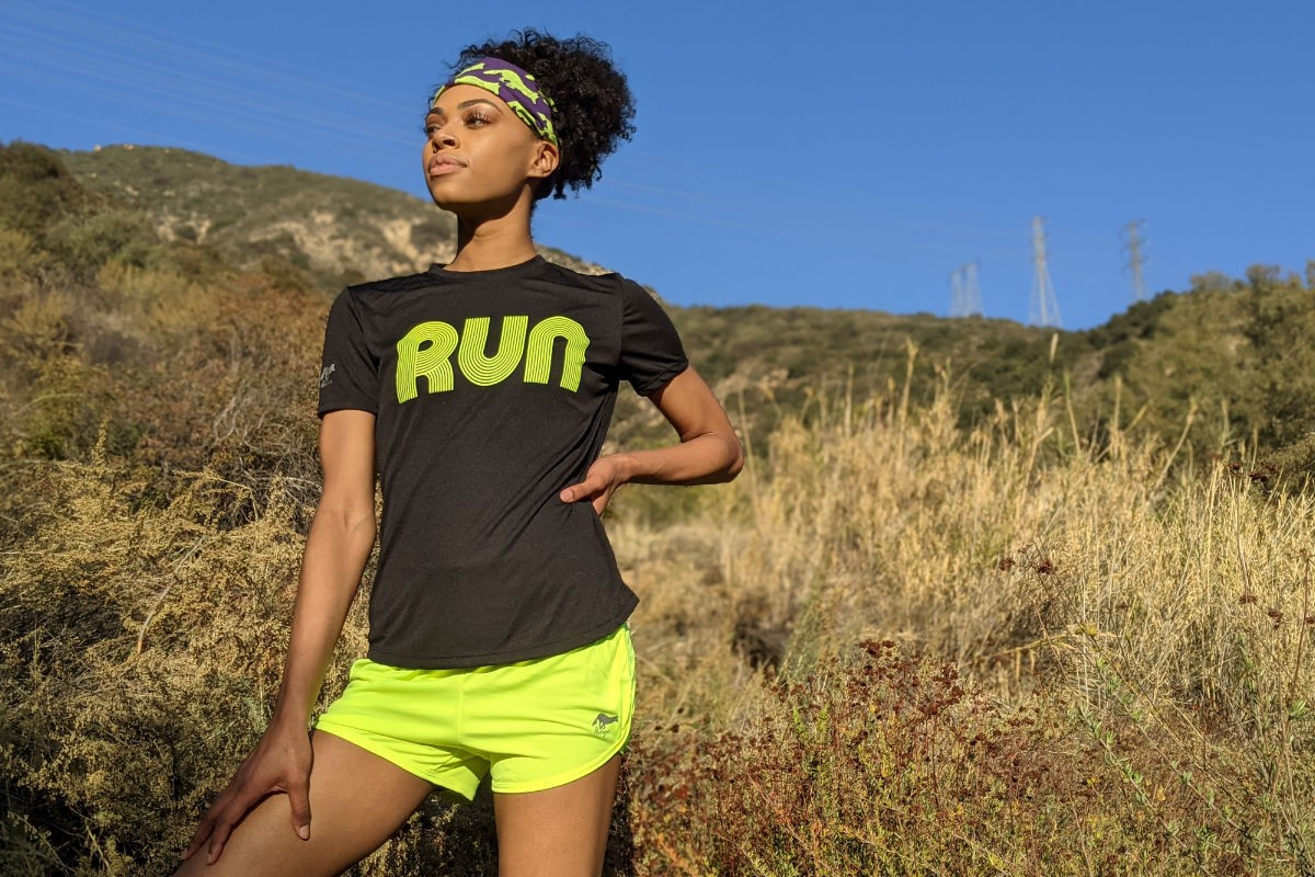 American Made In USA Womens Running Clothing RUN Black Neon Fitness Shirt Performance Sportswear Runyon Canyon Apparel
