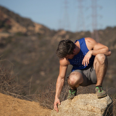 Runyon Canyon Apparel Mens Royal Blue Striped Star Performance Power Tank