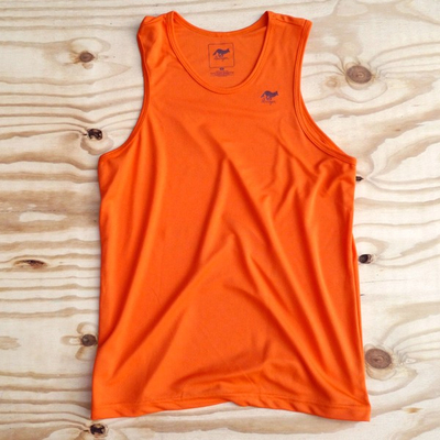 Runyon Canyon Apparel Mens Orange Performance Power Tank (Made In USA)