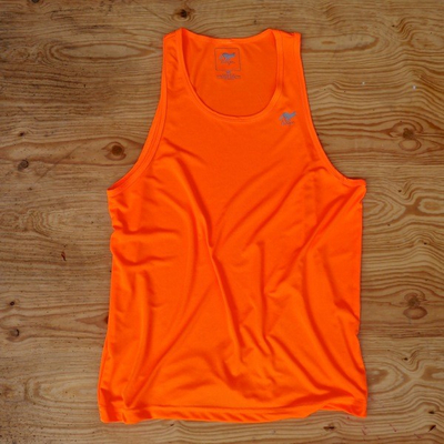 Runyon Canyon Apparel Mens Neon Orange Yoga Tank (Made In The USA)