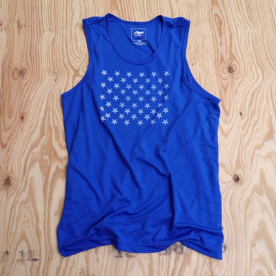 Runyon Canyon Apparel Mens Signature Royal Blue Striped Star Performance Power Tank Made In USA