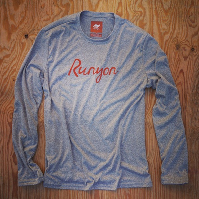 Runyon Canyon Apparel Mens Orange Script Long Sleeve Performance Fitness Shirt