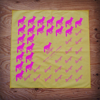 Runyon Canyon Apparel Totally Hot Pink Yellow Bandana Made In USA