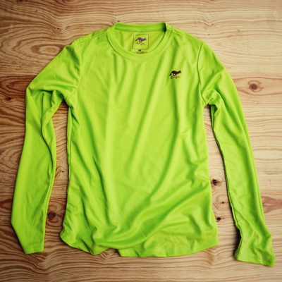 Runyon Canyon Apparel Womens Lime Green Long Performance Trail Shirt Made In USA