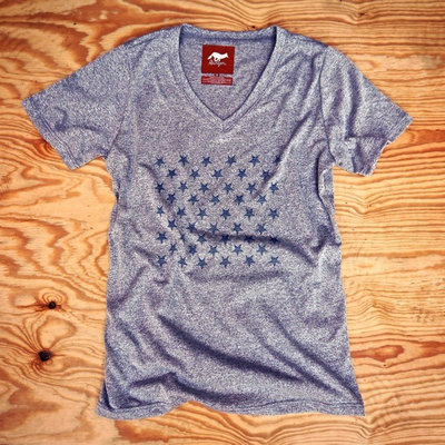 Runyon Canyon Apparel Womens Striped Star Peformance VNeck Made In USA