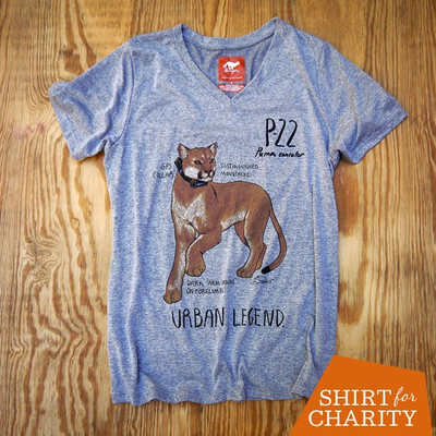 Runyon Women's Mountain Lion P-22 Fitness Shirt for Charity, Made In USA