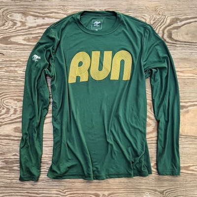 American Made In USA Mens Running Clothing Forest Gold RUN Long Sleeve Fitness Shirt Performance Sportswear Runyon Canyon Apparel
