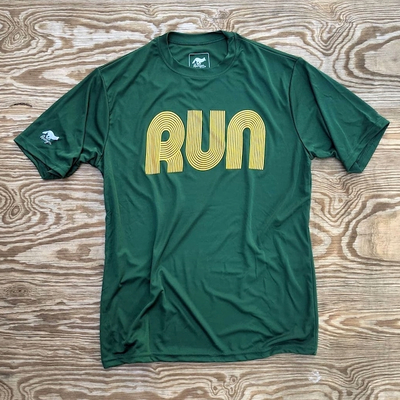American Made In USA Men's Running Clothing RUN Forest Gold Fitness Shirt Performance Sportswear Runyon Canyon Apparel