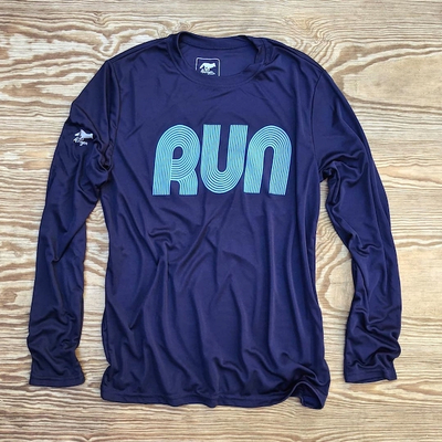 American Made In USA Mens Running Clothing Navy RUN Long Sleeve Fitness Shirt Performance Sportswear Runyon Canyon Apparel