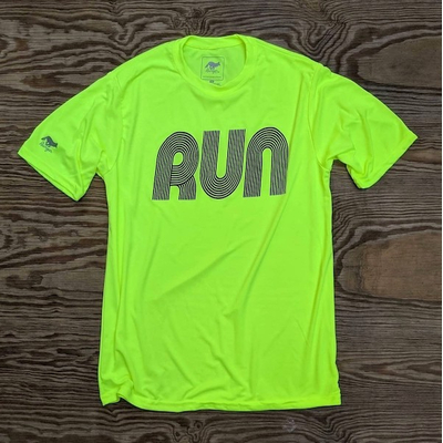 American Made In USA Men's Running Clothing RUN Neon Safety Yellow Fitness Shirt Performance Sportswear Runyon Canyon Apparel