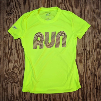 American Made In USA Women's Running Clothing RUN Neon Yellow Hot Purple Fitness Shirt Performance Sportswear Runyon Canyon Apparel