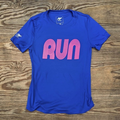 American Made In USA Women's Running Clothing RUN Royal Hot Pink Fitness Shirt Performance Sportswear Runyon Canyon Apparel