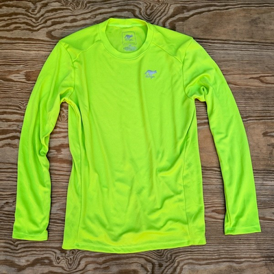 Runyon Canyon Apparel Lime Long Tech Trail Fitness Shirt Made In USA. Running, Hiking, Trails, Outdoor Performance