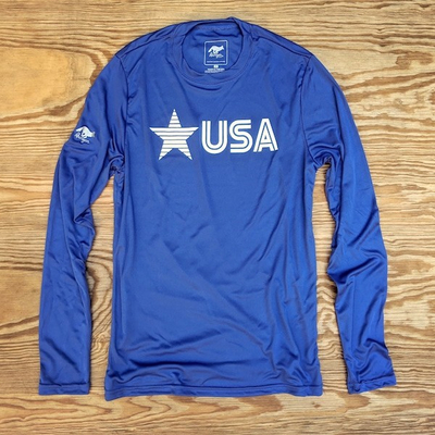Runyon Men's Star USA Royal Blue Long Sleeve Training Shirt great for Running, Hiking, Outdoor Fitness Made In USA