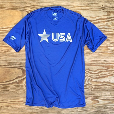 Runyon Men's Star USA Royal Blue Training Shirt great for Running, Hiking, Outdoor Fitness Made In USA
