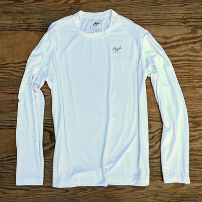 Runyon Canyon Apparel Mens White Long Training Shirt Made In USA great for Running, Hiking, Trails, Outdoor Fitness
