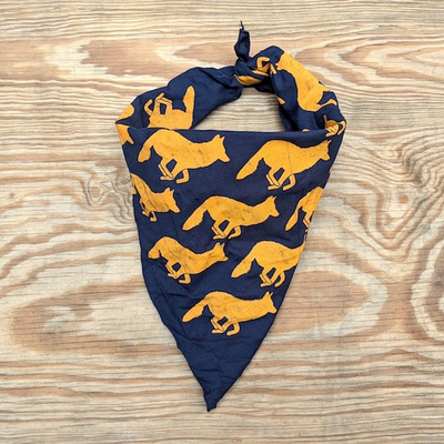 Runyon Canyon Apparel Signature Navy Blue Goldenrod Signature Bandana Made In USA. Great for running, hiking and all outdoor activities
