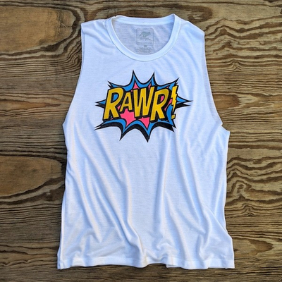 American Made In USA Womens Running Clothing RAWR Muscle Tank Running Hiking Fitness Performance Sportswear Runyon Canyon Apparel