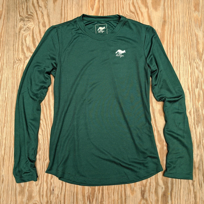 Runyon Canyon Apparel Womens Green Forester Long Trail Shirt Performance great for Running, Hiking, Outdoor Fitness, Made In USA