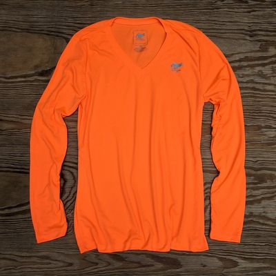 Runyon Canyon Apparel Womens Neon Orange Long Training Performance Fitness Shirt Made In USA