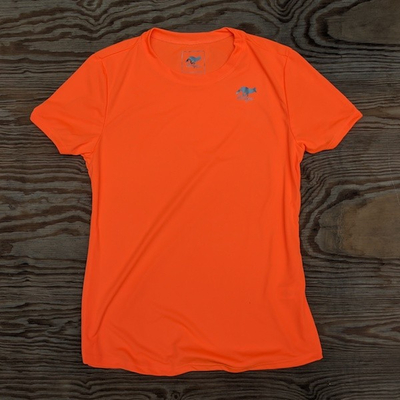 Runyon Canyon Apparel Womens Neon Orange Training Shirt great for Running, Hiking, Outdoor Fitness Made in USa