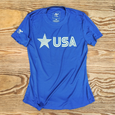 Runyon Women's Star USA Royal Blue Training Shirt great for Running, Hiking, Outdoor Fitness Made In USA
