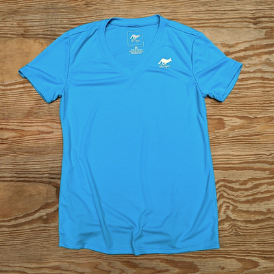 Runyon Canyon Apparel Womens Turquoise Performance V-Neck Trail Shirt Made In USA