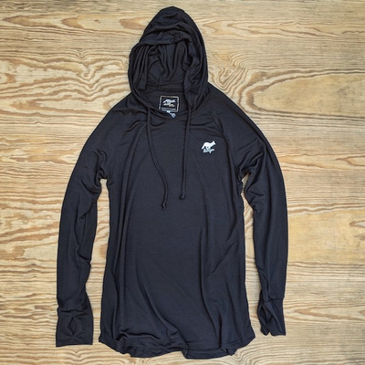 Men's Black Fitness Hoodie Made In USA Performance wear Hiking, Running, Trails, Outdoor Fitness
