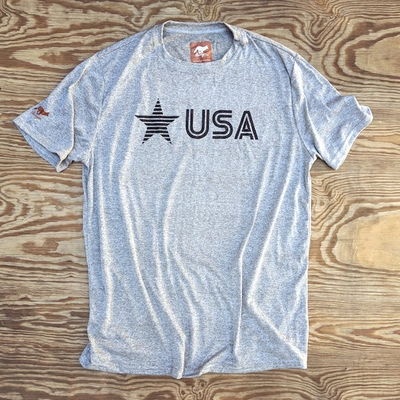 Runyon Men's Black Star USA Signature Fitness Shirt great for Running, Hiking, Outdoor Fitness Made In USA