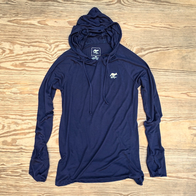 Men's Navy Blue Fitness Hoodie Made In USA Performance wear Hiking, Running, Trails, Outdoor Fitness