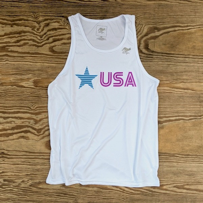 Runyon Men's Star USA Purple Turquoise Performance Fitness Tank great for Running, Hiking, Outdoor Fitness American Made In USA