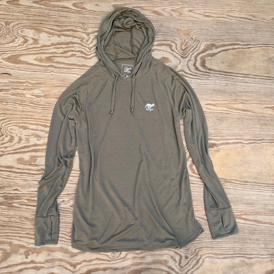 Women's Sierra Sage Olive Green Fitness Hoodie Made In USA Performance wear Hiking, Running, Trails, Outdoor Fitness