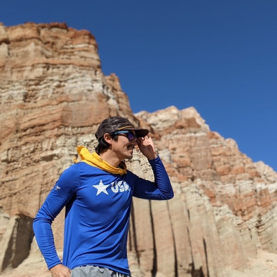 Men's Star USA Royal Blue Long Sleeve Training Shirt Made In USA Performance Apparel Red Rock Canyon State Park