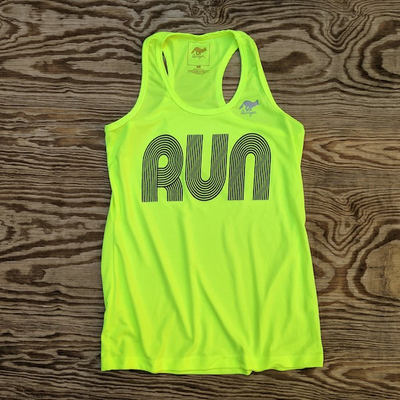 American Made In USA Womens Running Clothing Neon Yellow RUN Fitness Tank Top Performance Sportswear Runyon Canyon Apparel