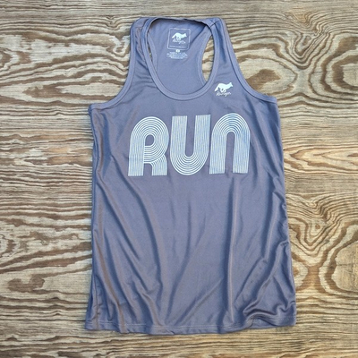 American Made In USA Womens Running Clothing Steel Grey RUN Fitness Tank Top Performance Sportswear Runyon Canyon Apparel