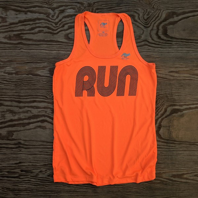 American Made In USA Womens Running Apparel Fitness Tank Tops Neon Orange Performance Sportswear Runyon Canyon Apparel