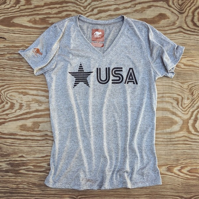 Runyon Women's Black Star USA Signature Fitness Shirt great for Running, Hiking, Outdoor Fitness Made In USA
