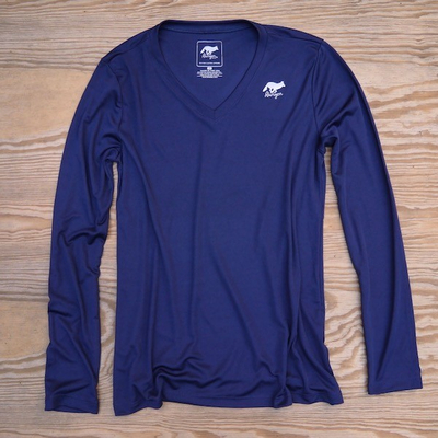 Runyon Canyon Apparel Womens Navy Blue Long Sleeve Training Shirt Performance Made In USA