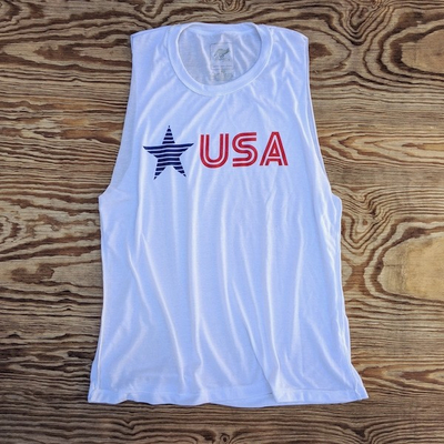 Runyon Wonen's Star USA Muscle Tank great for Running, Hiking, Trails, Outdoor Fitness Made In USA