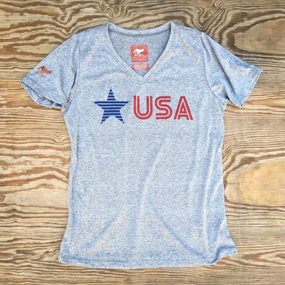 Women's Star USA Signature Fitness Shirt great for Running, Hiking, Outdoor Fitness Made In USA